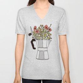 Moka Flowers Unisex V-Neck