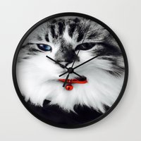 kiki Wall Clocks featuring Mr. Kiki by  Naartjie Photography