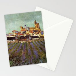 Lavender fields and View of Saintes-Maries by Vincent van Gogh Stationery Cards