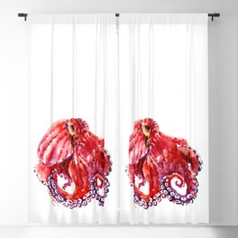 Red Octopus Blackout Curtain