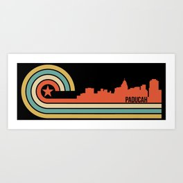 Retro Paducah Kentucky Skyline Art Print