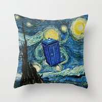 marauders Throw Pillows featuring Tardis Dr. Who Starry Night by neutrone