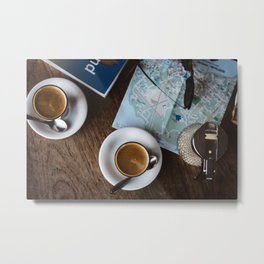 Coffee before Next Trip Metal Print