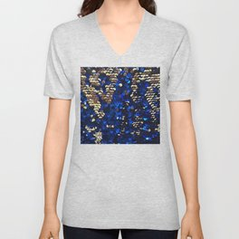 Gold and Blue Glitter Pattern Unisex V-Neck