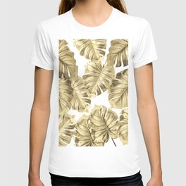 Gold Monstera Leaves on White 2 T-shirt