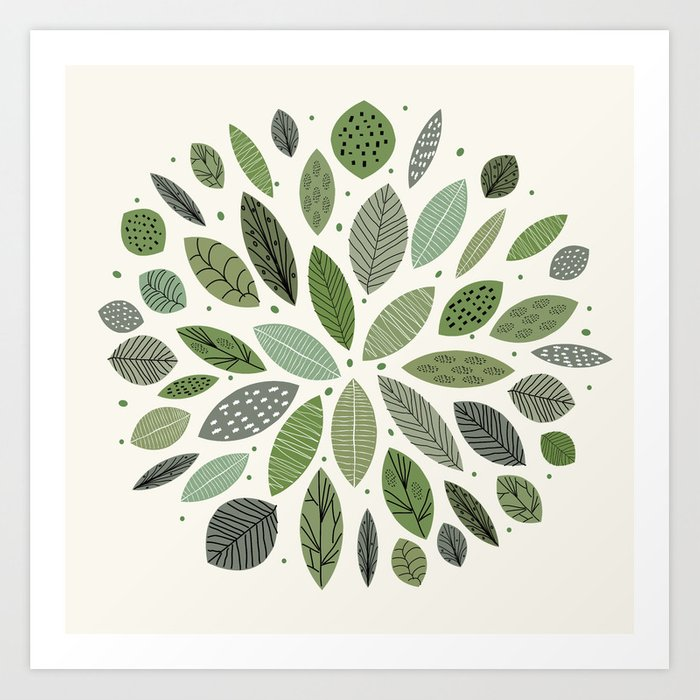 Mid-Century Green Leaves Kunstdrucke
