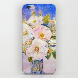 Watercolor Vase of Wild Roses iPhone Skin