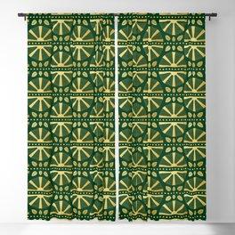 Emerald & Gold Art Deco Fan Blackout Curtain