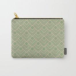 Paris - Classic Green Beige Geometric Minimalism Carry-All Pouch