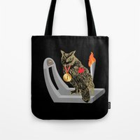 gym Tote Bags featuring Gym Owl by October's Very Own