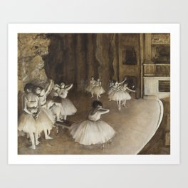 Ballet Rehearsal on Stage by Edgar Degas Art Print