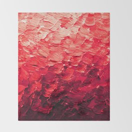 MERMAID SCALES 4 Red Vibrant Ocean Waves Splash Crimson Strawberry Summer Ombre Abstract Painting Throw Blanket