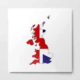 United Kingdom Map and Flag Metal Print