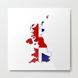 United Kingdom Map and Flag Metal Print