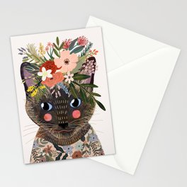 Siamese Cat with Flowers Stationery Cards