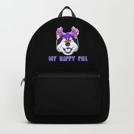 Floral Siberian Husky My Happy Pill Dog Owner Gift Backpack