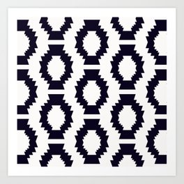 Simple Aztec Pattern Black and White Art Print