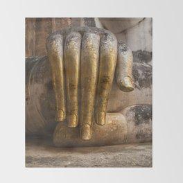 Golden Hand of a Buddha in Wat Sri Chum Thailand Throw Blanket