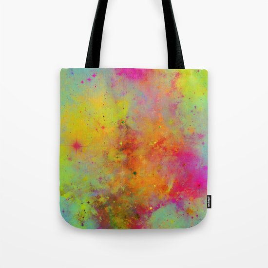 Rainbow Galaxy - Abstract, rainbow coloured space painting Tote Bag