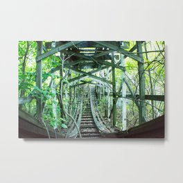 Nature  has taken over, Old Fun abandoned roller coaster Metal Print