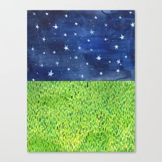 Grass & Stars Canvas Print