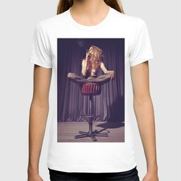 relaxed on the bar stool - Naked women T-shirt