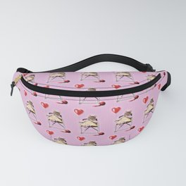 A pretty, little kitty with a heart-shaped balloon Fanny Pack