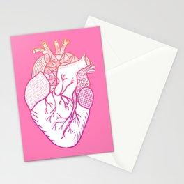 Designer Heart Pink Background Stationery Cards