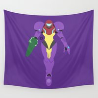 suit Wall Tapestries featuring Samus(Smash)Gravity Suit by samaran