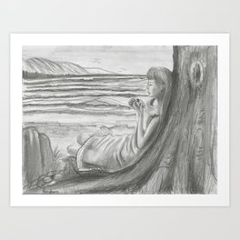 A Cool, Quieting Thought (Girl by tree on the beach) Art Print