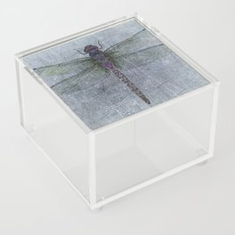 Dragonfly on blue stone and metal background Acrylic Box