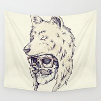 hat Wall Tapestries featuring WOLF HAT by Mike Koubou