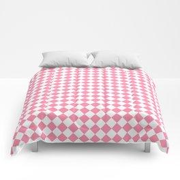Small Diamonds - White and Flamingo Pink Comforters