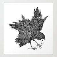 alisa burke Art Prints featuring Alisa The Bird - Illustration by Carlos Rascón Paper Art & Illustration