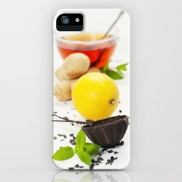 Tea with mint, ginger and lemon on white background iPhone Case