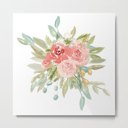 Loose Boho Watercolor Florals Metal Print