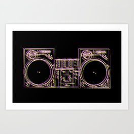 Turntable and Mixer illustration - sketch / drawing Art Print