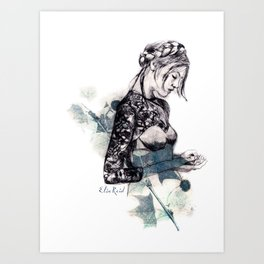 Fashion illustration Flower Sisters 1 of 2 Art Print