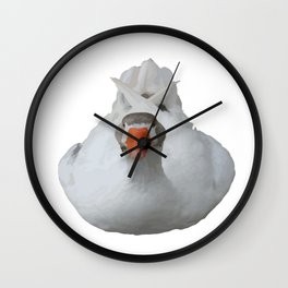 White Wild Duck Sitting Background Removed Wall Clock