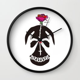 Skull and Rose Illustration Wall Clock