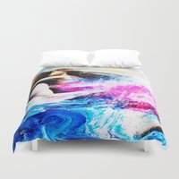 swimming Duvet Covers featuring Swimming by Catherine Bayliss