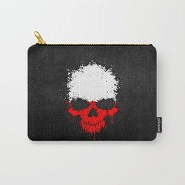 Flag of Poland on a Chaotic Splatter Skull Carry-All Pouch
