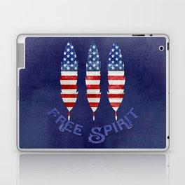 American Flag Stars and Stripes Free Spirit Feather Laptop & iPad Skin
