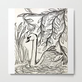 Swan of Serenity Metal Print