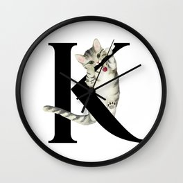 Cat Monogram Collection K Wall Clock