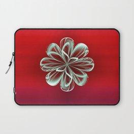 Cyan Bloom on Red Laptop Sleeve