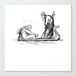 Norse Myth Frigg and Odin Sailing In Fensalir Canvas Print