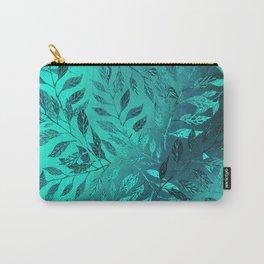 Monochrome Leaf Arrangement (Teal) Carry-All Pouch
