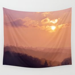 Sunset Over the Woods Wall Tapestry