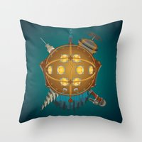 bioshock Throw Pillows featuring Bioshock tribute by Javier Robles